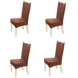 4-Pack Kitchen Dining Chair Cover Slipcover Brown